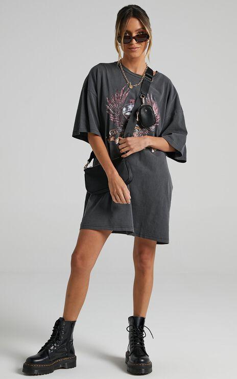 The People Vs - United Eagle Tee Dress in Vintage Black
