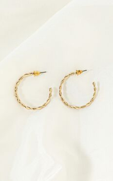 Indigo Twist Hoop Earrings In Gold