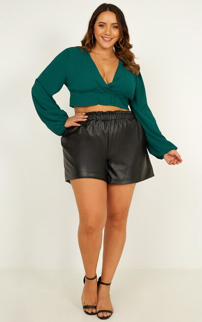 Old Conversations Shorts In black leatherette - 18 (XXXL), Black, hi-res image number null