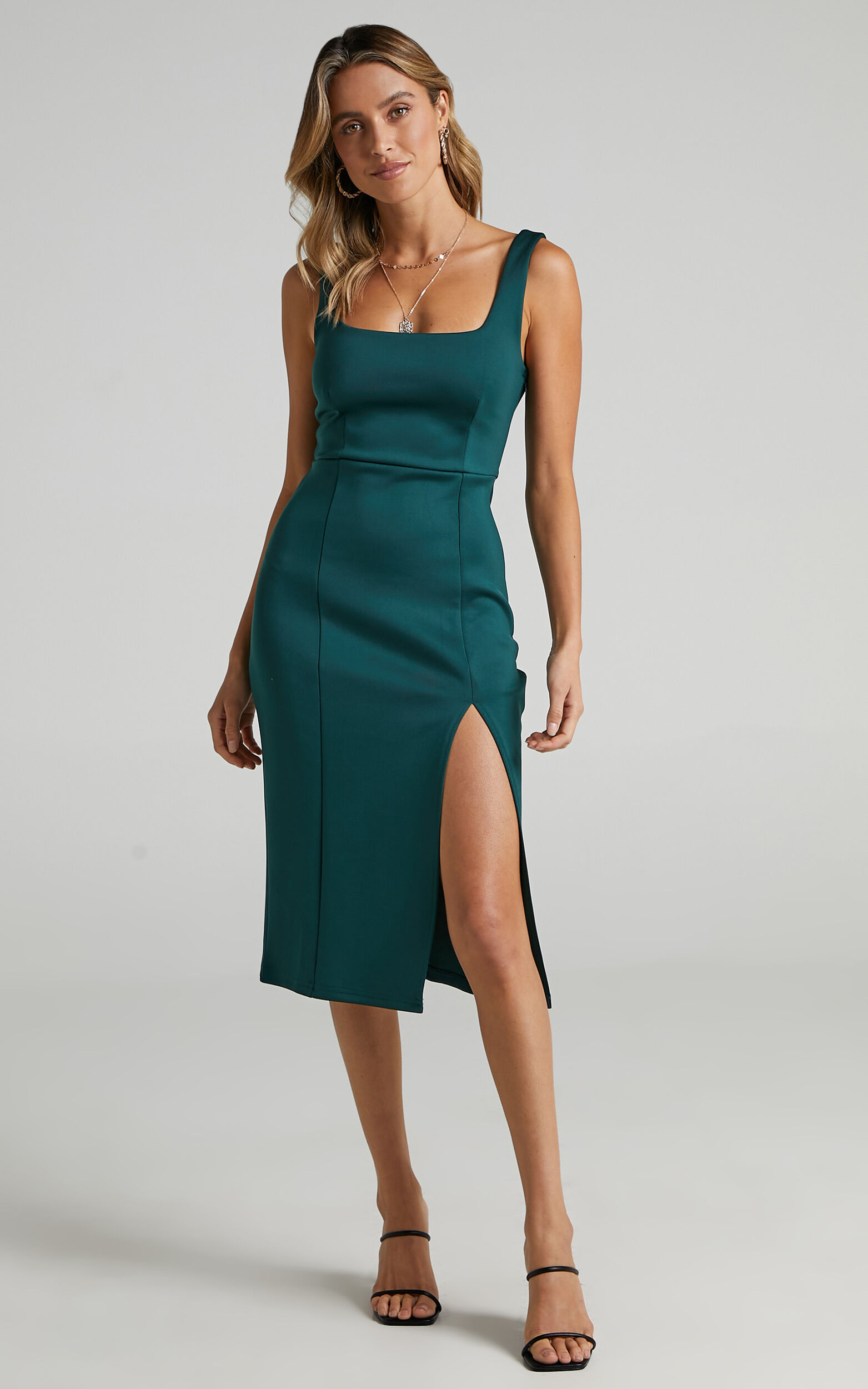 Mini Love Square Neck Split Midi Dress in Emerald - 04, GRN5, super-hi-res image number null
