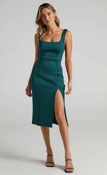 Mini Love Square Neck Split Midi Dress in Emerald