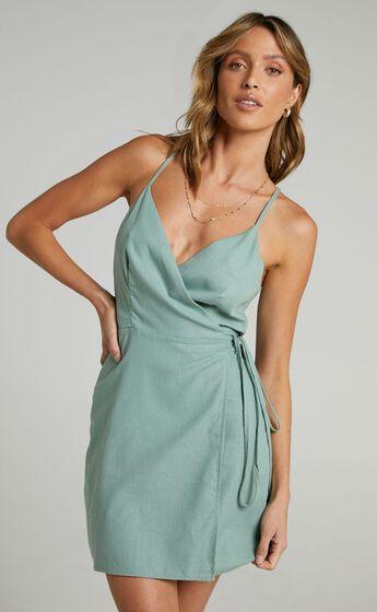 Whisper it Dress in Sage Linen Look