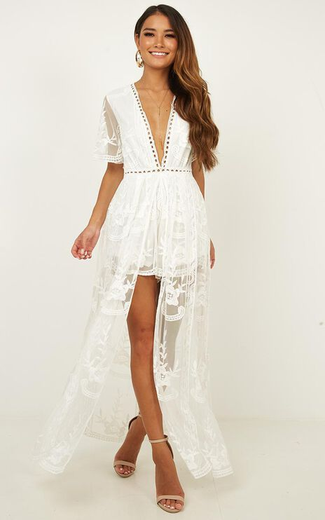 Lets Get Loud Maxi Playsuit In White Lace