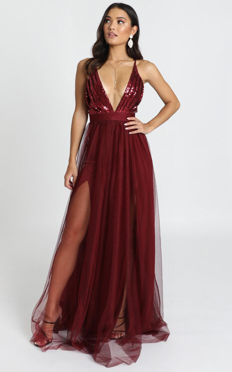 San Diego Maxi Dress In Wine Sequin