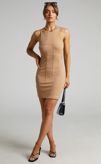 Ashley Bodycon Dress with Panel Detail in Beige