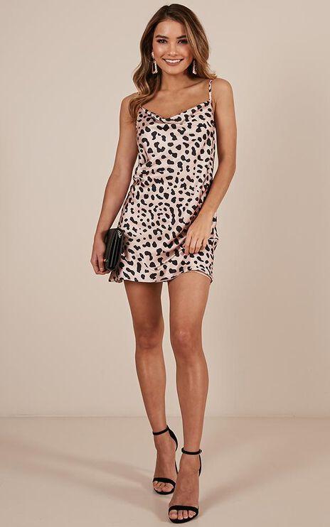 Im About You Slip Dress In Leopard Print