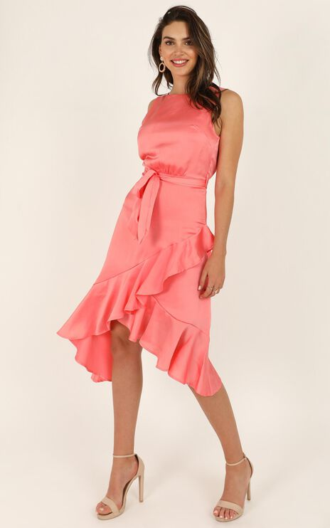 Dream Of Us Dress In Coral Satin
