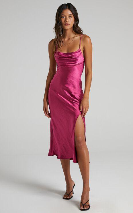 Monica Dress In Fuschia Satin