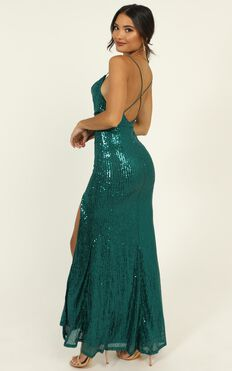 Together With You Maxi Dress In Emerald Green Sequin