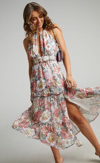 Lille Halter Lurex Chiffon Cocktail Dress in Heritage Floral