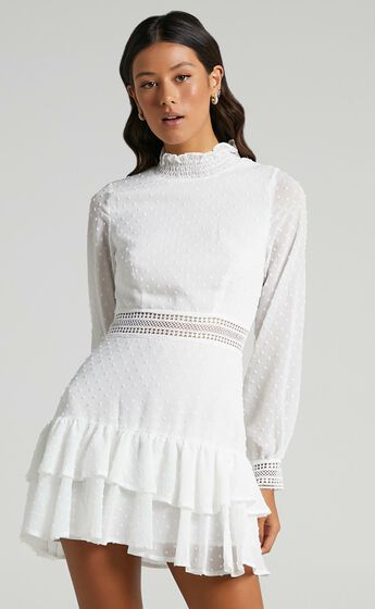 Are You Gonna Kiss Me Long Sleeve Mini Dress in White