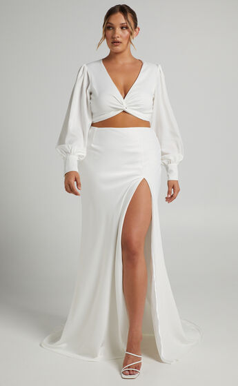 Charm Bells Twist Front Bridal Two Piece Set in Ivory