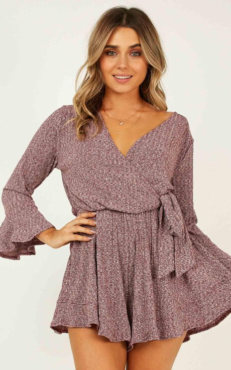 New And Fresh Playsuit In Wine Marle