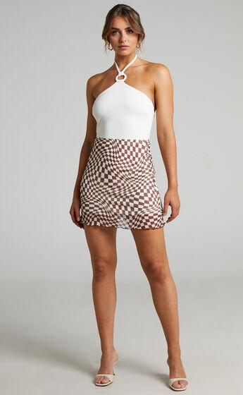 Zaiddy Mesh Mini skirt in Brown