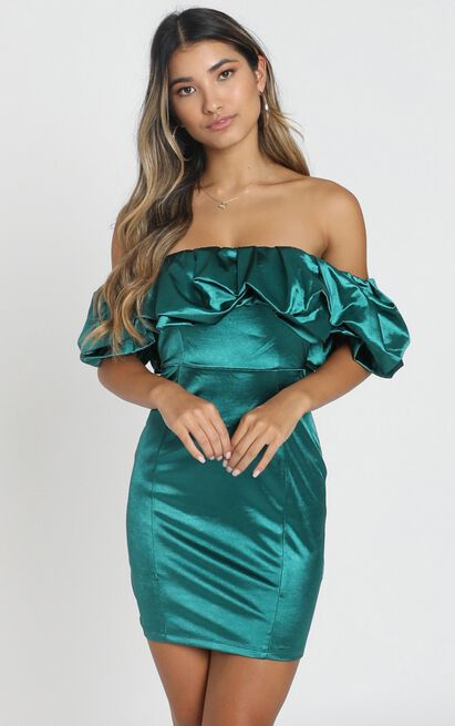 Calla Dress in emerald satin - 6 (XS), Green, hi-res image number null