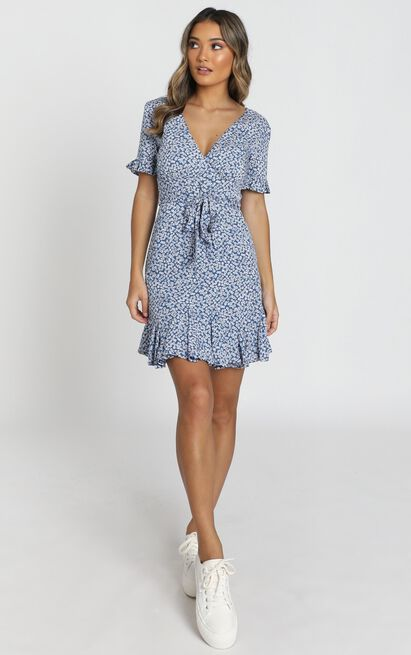 Chicago Floral Mini Dress in navy floral- 6 (XS), Navy, hi-res image number null