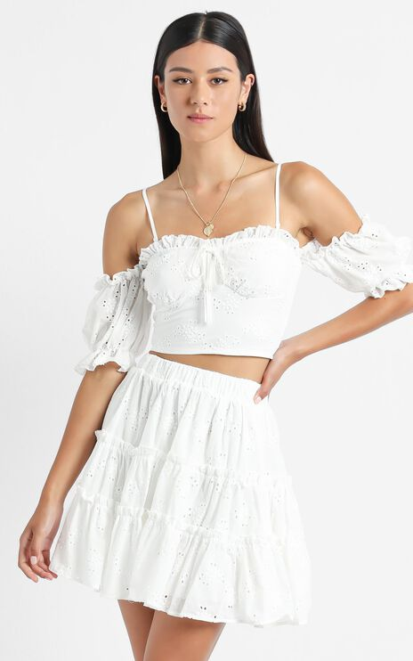Hallie two piece set in White Embroidery