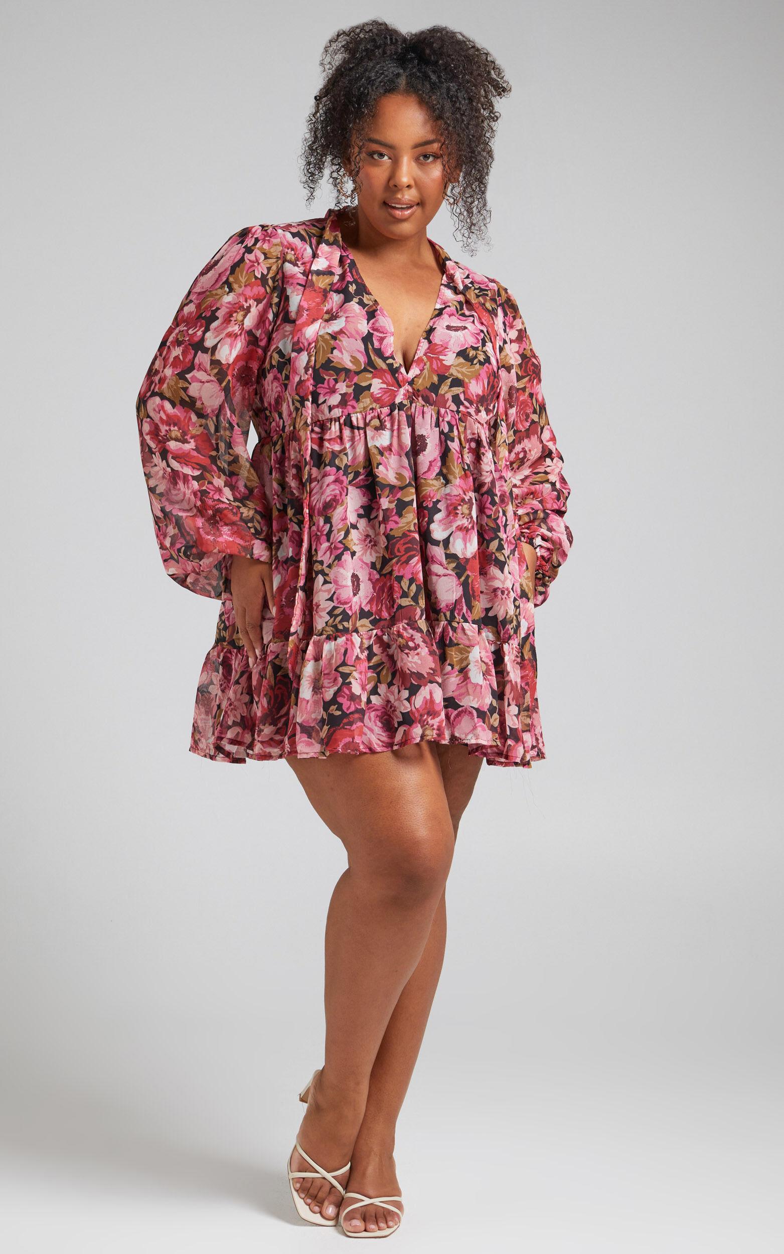 Janessa Tie Front Shift Mini Dress in Boudoir Blooms - 04, PNK1, super-hi-res image number null