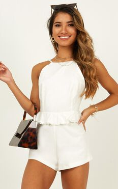 Read About It Playsuit In White