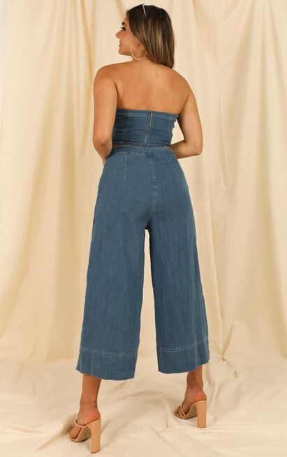 Make This Easy denim two piece set In mid blue wash - 14 (XL), Blue, hi-res image number null