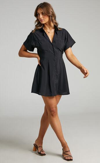 Maxine Button Up Mini Dress in Black