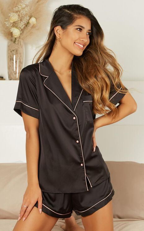 Above The Line Top In Black Satin