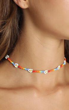 Bindy Beaded Flower Necklace In Multi Colour
