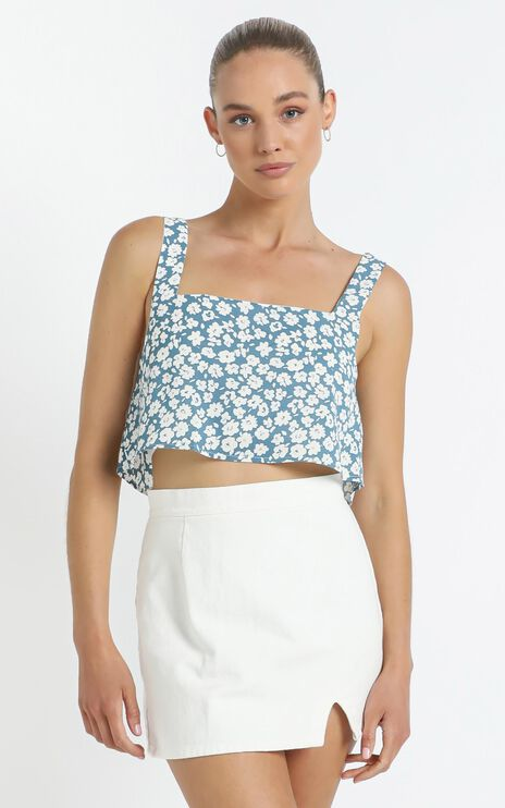 Estelle Crop in Blue Floral