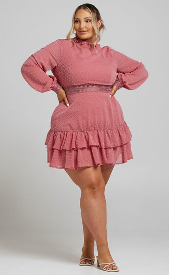 Are You Gonna Kiss Me Long Sleeve Mini Dress in Dusty Rose