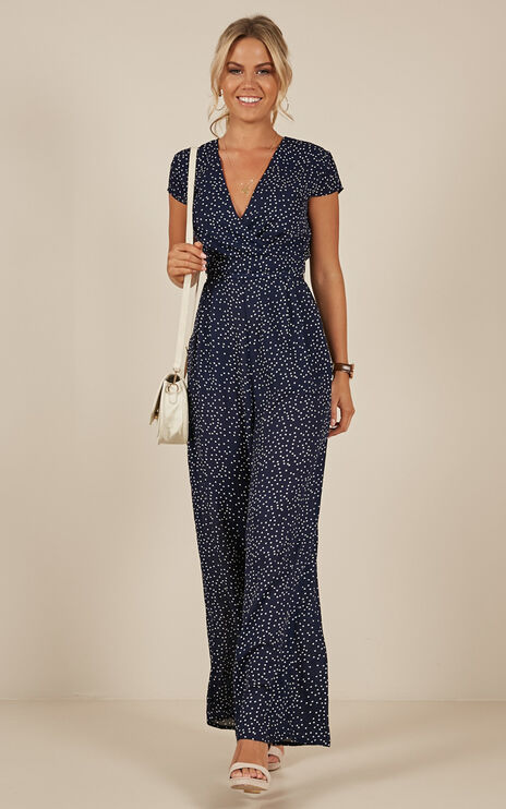 Locked Heart Jumpsuit In Navy Spot