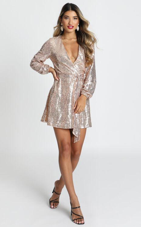 Three Of Us Dress In Gold Sequin