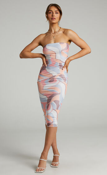 Brunetta Strapless Mesh Midi Dress in Retro Swirl