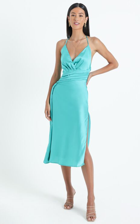 Trilby Dress in Teal Satin