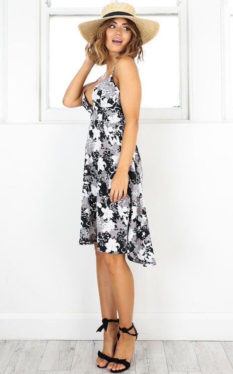 Anytime Anywhere Dress In Black Floral