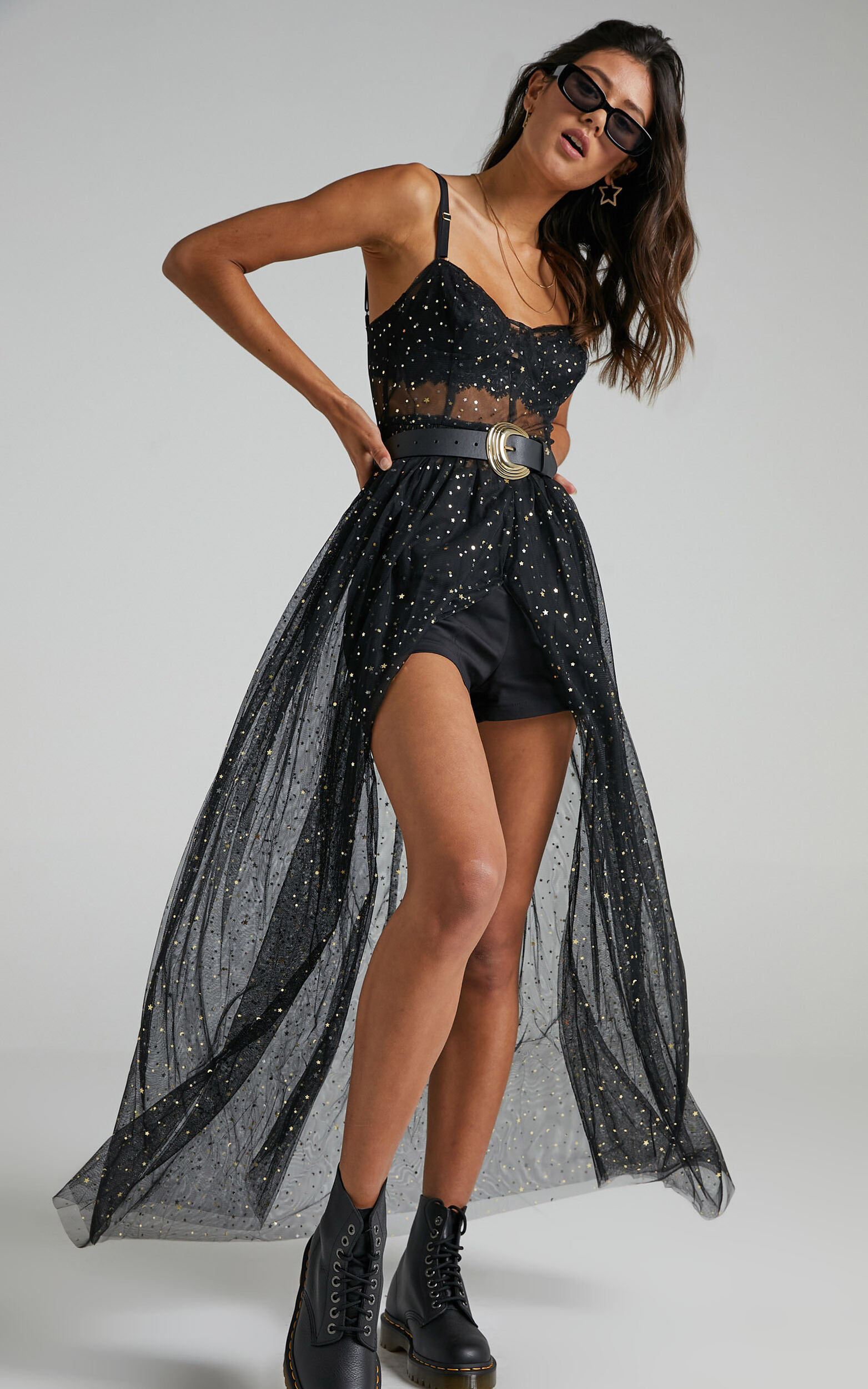 Stunning View Bodice Maxi Dress in Black Mesh - 04, BLK1, super-hi-res image number null