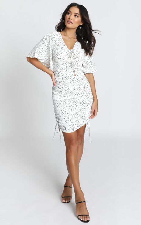 Kelli Ruched Mini Dress In Black Spot