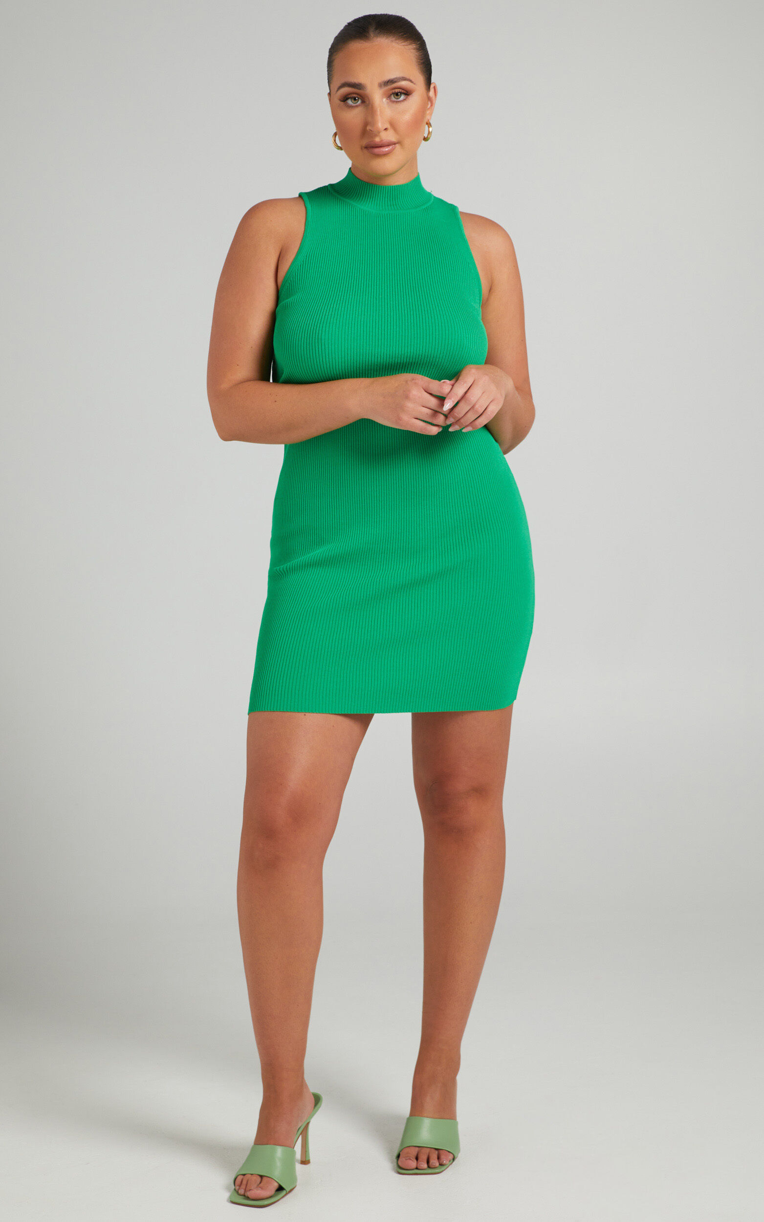 LIONESS - JADORE CHAIN MINI DRESS in Green - L, GRN1, super-hi-res image number null