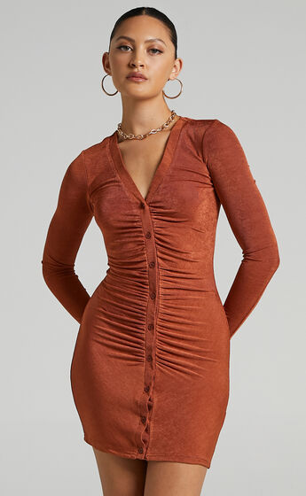 Shanti Ruched Button Front Mini Dress in Rust