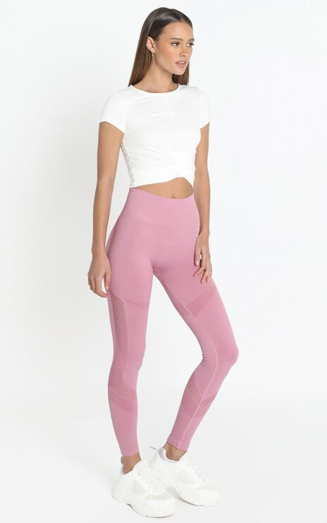 Bobbie High Waisted Activewear Tights in Berry