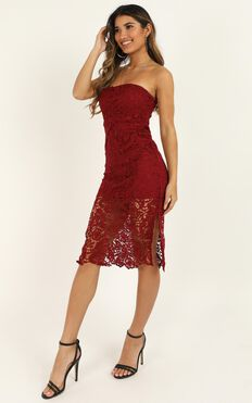 Walk The Other Way Dress In Wine Lace