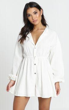 Stormy Button Through Playsuit In White