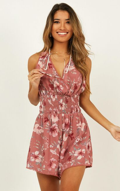 sing with me playsuit in rose floral print - 20 (XXXXL), Blush, hi-res image number null