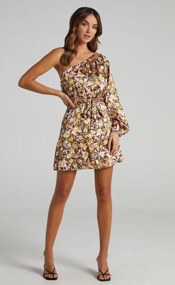 Odo One Shoulder Mini Dress in Black Floral
