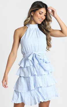 Blythe High Neck Mini Dress In Dusty Blue