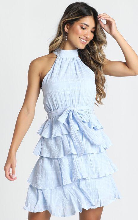 Blythe High Neck Mini Dress In Dusty Blue