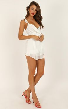 No One Id Rather Playsuit In White