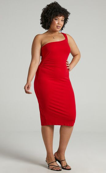 Got Me Looking One Shoulder Bodycon Midi Dress in Red