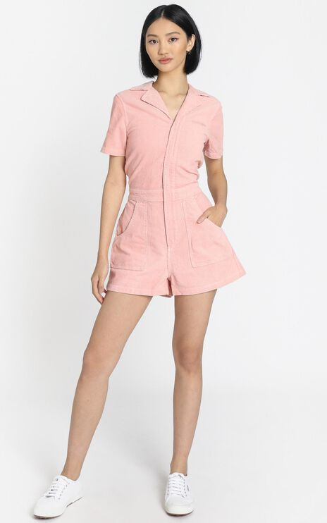 Wrangler - Jeanie Romper in Dusty Rose
