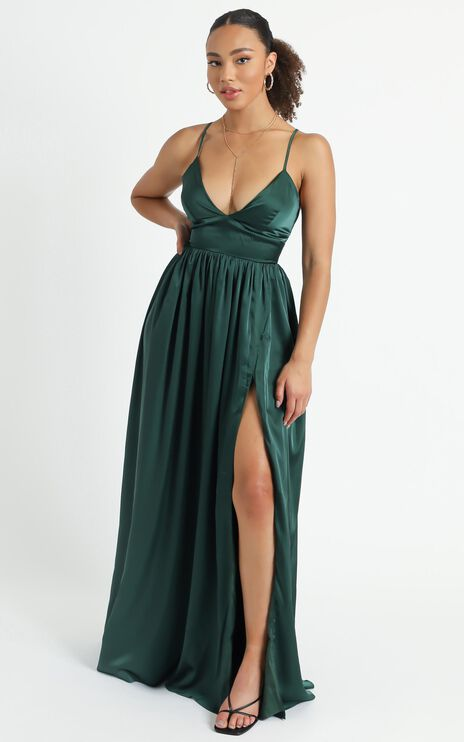 I Want The World To Know Dress In Emerald Satin