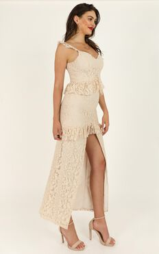 Waiting Forever Maxi Dress In Cream Lace